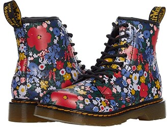 Dr. Martens Kid's Collection 1460 Wanderflora (Little Kid/Big Kid) (Black Hydro Leather) Kid's Shoes