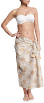 Flora Bella Fern Printed Sarong, White/Natural