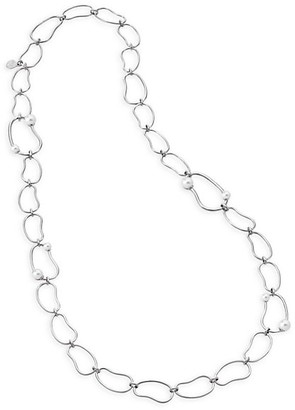 Majorica 5-8MM Organic Man-Made Pearl & Silvertone Link Long Necklace