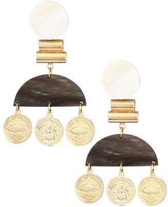 Akola 10K Goldplated Horn & Coin Dangle Earrings