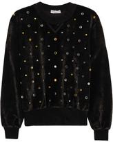 Sonia Rykiel Crystal-embellished Velvet Sweatshirt - Black