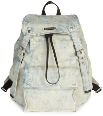 Saint Laurent Grunge Denim Drawstring Backpack