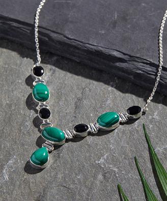 Ys Gems YS Gems Women's Necklaces Green - Malachite & Black Onyx Oval Pear-Cut Statement Necklace