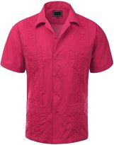 Guytalk Men's Cuban Guayabera Button-down Short Sleeve Shirt