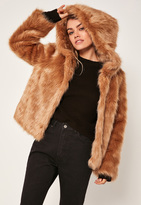 Missguided Camel Hooded Faux Fur Coat