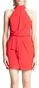 Halston Mock Neck Mini Dress