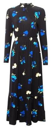 Dorothy Perkins Womens Black Floral Print Tiered Midi Skater Dress, Black