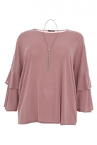 Quiz Curve Dusty Pink Light Knit Frill Sleeve Top
