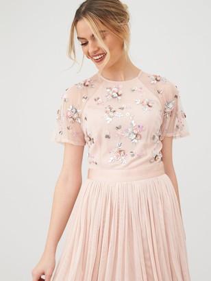 Very Embellished Tulle Bridesmaid Prom Dress - Blush