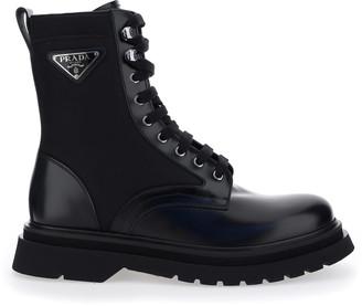 Prada Logo Plaque Combat Boots