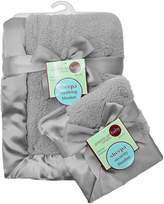 American Baby Company Ultra Soft and Cuddly Sherpa Blanket Set, Gray
