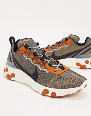 Nike React Element 55 SE trainers in beige