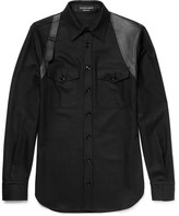 Alexander McQueen Slim-Fit Leather-Panelled Wool Shirt