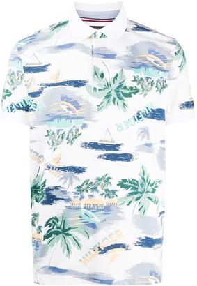 Tommy Hilfiger Logo Palm Print Polo Shirt
