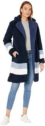 J.Crew Color-Block Ariana Sherpa Topcoat (Blue Multi) Women's Coat