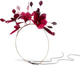 Valentino Gold-tone Feather Headband - Burgundy