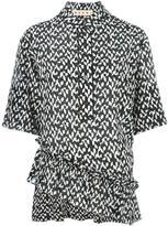 Marni geometric asymmetric ruffle blouse