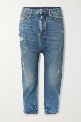 R 13 Tailored Drop Distressed Low-rise Boyfriend Jeans - Mid denim