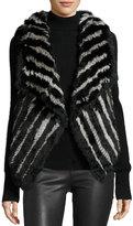 Neiman Marcus Striped Fur Vest, Black/Gray