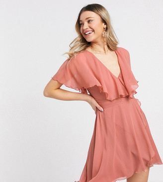ASOS DESIGN cape back dipped hem mini dress in rose