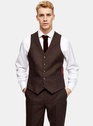Topman HARRY BROWN Brown Slim Fit Suit Waistcoat