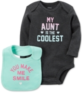 Carter's 2-Pc. My Aunt Is The Coolest Cotton Bodysuit & Bib Set, Baby Girls (0-24 months)