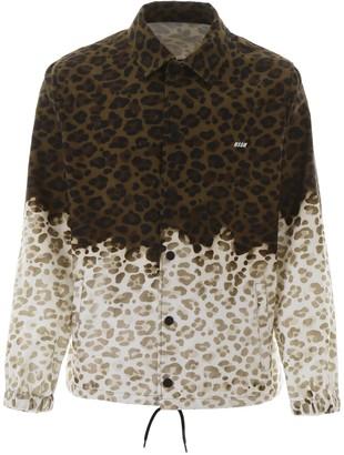 MSGM Two-Tone Leopard Print Jacket