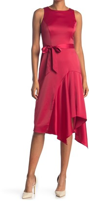 London Times Charmeuse Tie Waist Asymmetrical Hem Dress