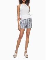 """Striped Linen Blend Tie Waist 4"""" Shorts"""