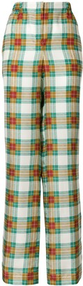Alberta Ferretti Plaid High-Waist Trousers