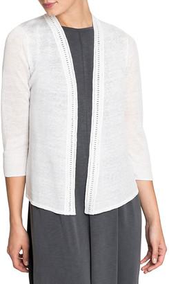 Nic+Zoe Plus Size Open-Front Crochet Trim 4-Way Cardigan