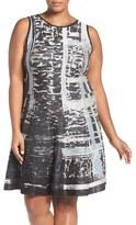 Nic+Zoe Plus Size Women's Crosstown Twirl Knit Fit & Flare Dress