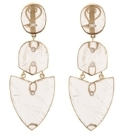 Kara Ross Gold, Quartz and Diamond Arrow Earrings