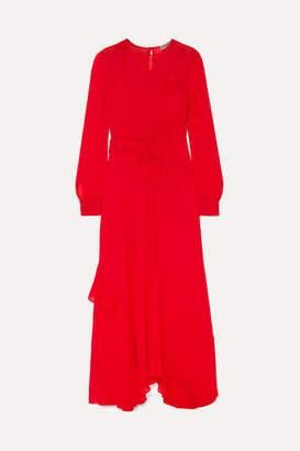 Preen Line Brea Asymmetric Ruffled Lace-trimmed Georgette Maxi Dress - Red