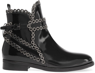 Alaia Eyelet-embellished Glossed-leather Ankle Boots