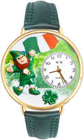 Whimsical Watches Personalized St. Patricks Day Womens Gold-Tone Bezel Green Leather Strap Watch