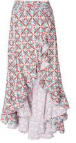 Caroline Constas Giovanna Printed Cascading Ruffle Skirt