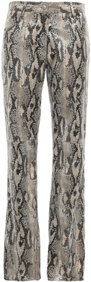 MSGM Snake-effect Faux Leather Wide-leg Pants