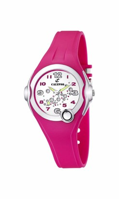 Calypso Girl's Quartz Watch with White Dial Analogue Display and Pink Plastic Strap K5562/3