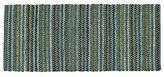 Crate & Barrel Pinstripe Jade Green Cotton 2.5'x6' Rag Rug Runner