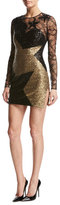 Elie Saab Star Paillette & Lace Long-Sleeve Minidress, Black/Gold
