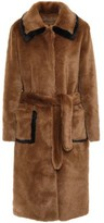 Sandro Belted Faux Fur Coat