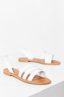 Nasty Gal Womens Strappy Thoughts Wide Fit Flat Sandals - White
