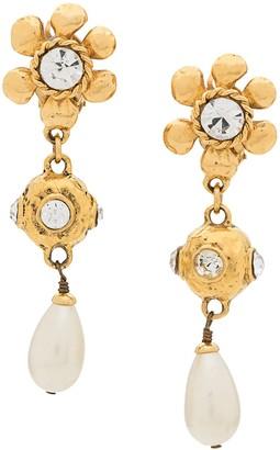 Chanel Pre Owned Strass Flower Earrings