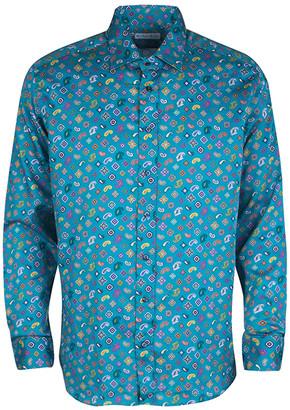 Etro Blue Paisley Printed Cotton Long Sleeve Button Front Shirt L