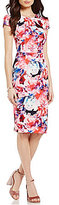 Betsey Johnson Floral Printed Midi Sheath Dress
