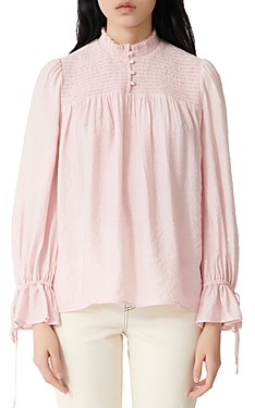Maje Smocked Long-Sleeve Top