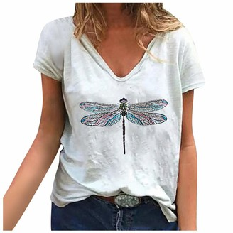 CUTUDE Women's Tops T-Shirt New Ladies Casual V Neck Short Sleeve Dragonfly Print Summer Loose Casual Tunic Blouse Shirt Pullover (White M)