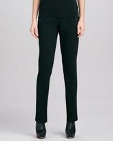 Eileen Fisher Slim Ponte Leather-Trim Pants