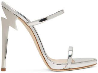 Giuseppe Zanotti Silver G-Heel Sandals